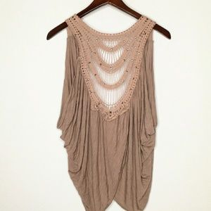 Daytrip By BUCKLE,Taupe Boho Crochet Layering Vest